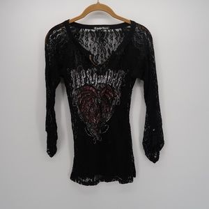 Crash & Burn 3/4 Sleeve Sheer Lace Tee T-Shirt Top